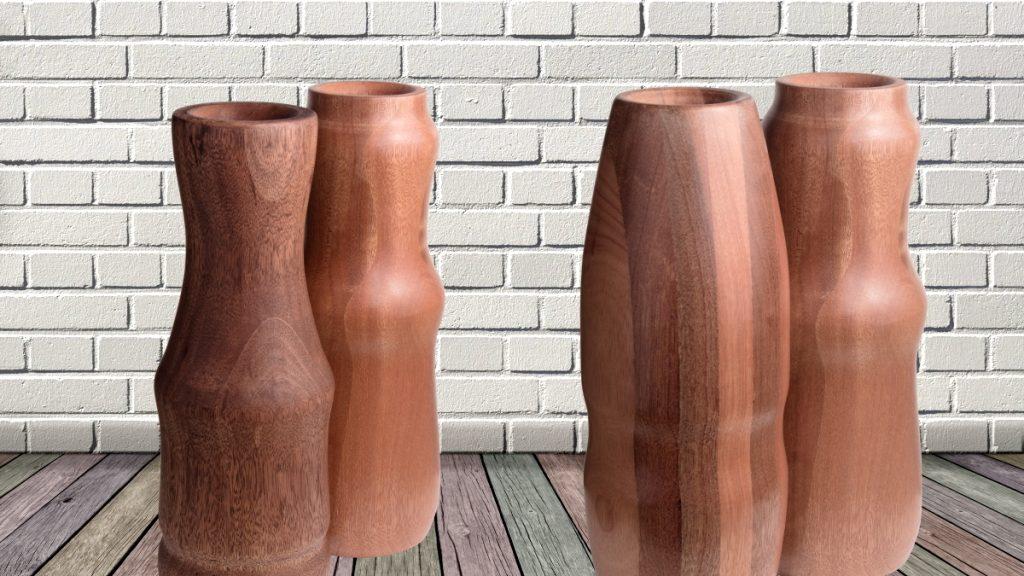 Cztery-wazony drewniane wizualizacja